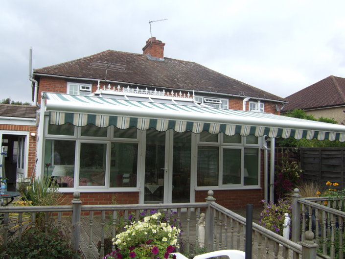 awning fitted to conservatory